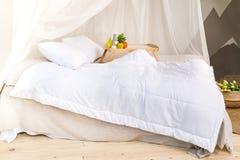 淡色的一间舒适卧室与一个木地板、一张大有四根帐杆的卧床床、盘子用果子和花瓶 免版税库存图片