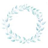 淡色蓝色水彩叶子花圈 微妙的手 免版税库存图片