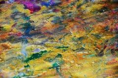 淡色金黄蓝色水彩背景,蜡状的抽象纹理 图库摄影