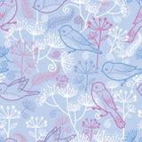 淡色鸟和花无缝的样式 向量例证