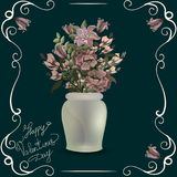 淡色鸦片花束在花瓶的在黑色 葡萄酒 免版税库存照片