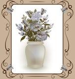 淡色鸦片花束在花瓶,葡萄酒的 免版税库存照片