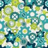 淡色绿色齿轮的无缝的抽象样式 免版税库存照片