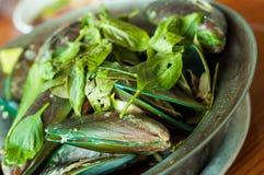 淡菜和薄荷叶在砂锅 库存图片