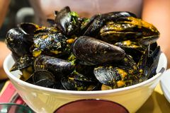 淡菜汤在Siracusa,西西里岛餐馆  免版税库存图片