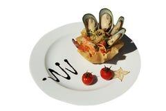 淡菜沙拉用乳酪和虾 免版税图库摄影