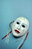淡蓝的陶瓷面具。与拷贝空间的垂直。 免版税库存照片