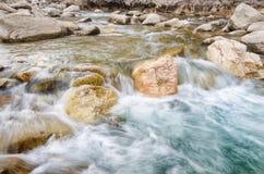 淡水河在岩石中的 新鲜的在石头的水色快速的流程 有干净的冷水的一条森林河 新鲜 库存照片