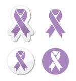 淡紫色丝带-一般癌症了悟 库存图片