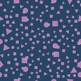 淡紫色几何形状 在黑暗的背景的无缝的样式 图库摄影