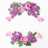 淡紫色分支、桃红色郁金香和叶子的花卉样式在白色背景 平的位置,顶视图 花束弓形象花纹花样无缝小 免版税库存照片
