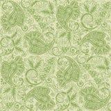 淡绿色和棕褐色的颜色无缝的佩兹利背景  免版税库存图片