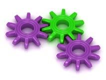 淡紫色和绿色齿轮 库存图片