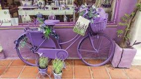 淡紫色商店自行车 免版税图库摄影