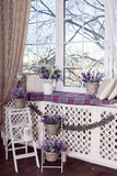 淡紫色在白色罐、柳条筐和小自行车立场开花在木梯子 免版税图库摄影