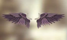 淡紫色天使翼 免版税库存图片