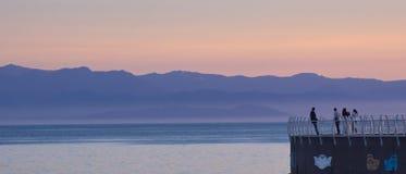 淡紫色日落,维多利亚, BC,加拿大 免版税库存照片