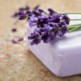 淡紫色温泉肥皂酒吧  库存图片