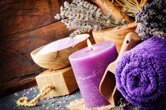 淡紫色温泉设置 库存图片
