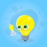淡黄色电灯泡举行试管科学化学 皇族释放例证