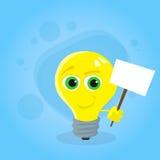 淡黄色电灯泡漫画人物举行白色 向量例证