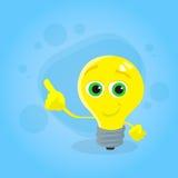 淡黄色电灯泡漫画人物点手指 图库摄影