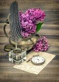 淡紫色花和古色古香的被定调子的墨水池葡萄酒 免版税库存照片