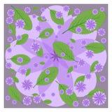 淡紫色花和绿色叶子在紫色 库存图片