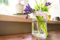 淡紫色花在水中 免版税库存照片