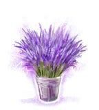 淡紫色花束在桶的 向量例证