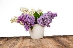 淡紫色花花束在花盆的 免版税库存图片