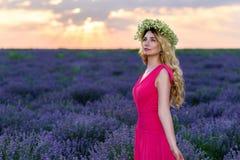 淡紫色领域的美丽的女孩在日落 免版税图库摄影