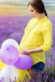 淡紫色领域的美丽的孕妇 免版税库存照片