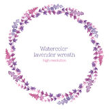 淡紫色水彩花圈  库存照片
