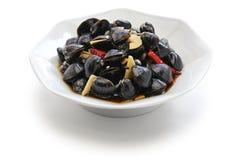 淡水蛤蜊ceviche,用卤汁泡的河蛤蜊,台湾食物开胃菜 库存照片