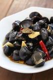 淡水蛤蜊ceviche,用卤汁泡的河蛤蜊,台湾食物开胃菜 免版税库存照片