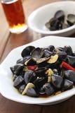 淡水蛤蜊ceviche,用卤汁泡的河蛤蜊,台湾食物开胃菜 库存图片