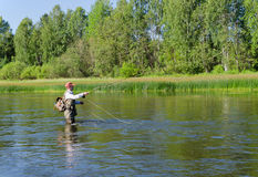 淡水鳔形鱼用假蝇钓鱼渔夫抓住在Chusovaya河 库存图片