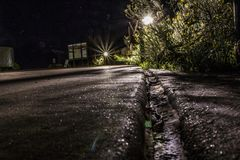 深刻的星际在大峡谷的亚利桑那夜长的曝光的 免版税库存照片