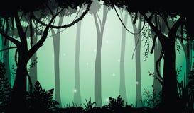 深刻的森林视图,传染媒介例证 免版税库存照片