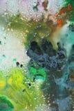 深刻的淡色油漆颜色和颜色 抽象独特的湿油漆背景 绘画斑点 免版税库存照片