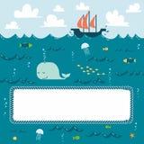 深刻的蓝色海运框架 向量例证