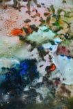 深刻的颜色淡色混合油漆颜色和颜色 抽象独特的湿油漆背景 绘画斑点 库存照片