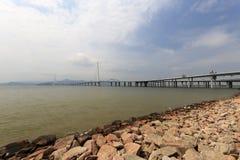 深圳湾桥梁 库存照片