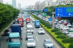 深圳,中国:交通堵塞 库存图片