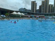 深圳,中国:人们游泳作为消遣体育 库存图片