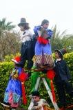 深圳,中国:传统民间piaose游行活动,穿古老服装的孩子齐射舞蹈,非常美好 库存图片