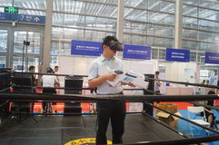 深圳,中国:国际虚拟现实,全息照相的技术陈列 图库摄影