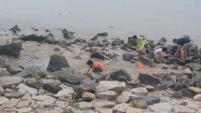 深圳,中国:在海滩或抓住的妇女和儿童游戏捉蟹 图库摄影