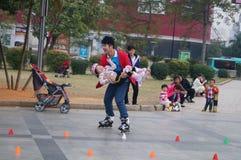 深圳,中国:室外滑冰 免版税库存照片
